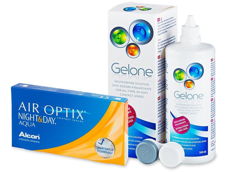 Air Optix Night and Day Aqua (6lentile) +soluțieGelone360ml
