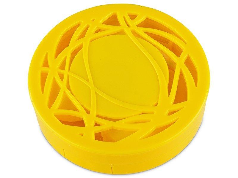 Casetă cu oglindă-  cu ornament,  galbenă