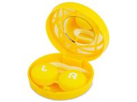 contact-lentile.ro - Lentile de contact - Casetă cu oglindă-  cu ornament,  galbenă